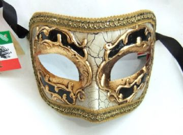 Genuine Venetian Black & Cream Crackle half Mask